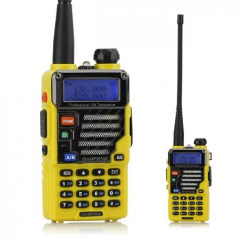 BaoFeng UV-5R Plus / UV-5R+ 136-174/400-520MHz Two-Way Ham Radio, with Earphone, Qualette Series *Yellow*