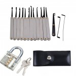 16 PCS Lock Pick Training Set Locksmith PracticeTools with Transparent Cutaway