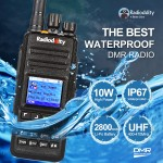 Radioddity GD-55 10W DMR IP67 Digital Two-way Radio UHF 2800mAh Walkie Talkie with GPS Function