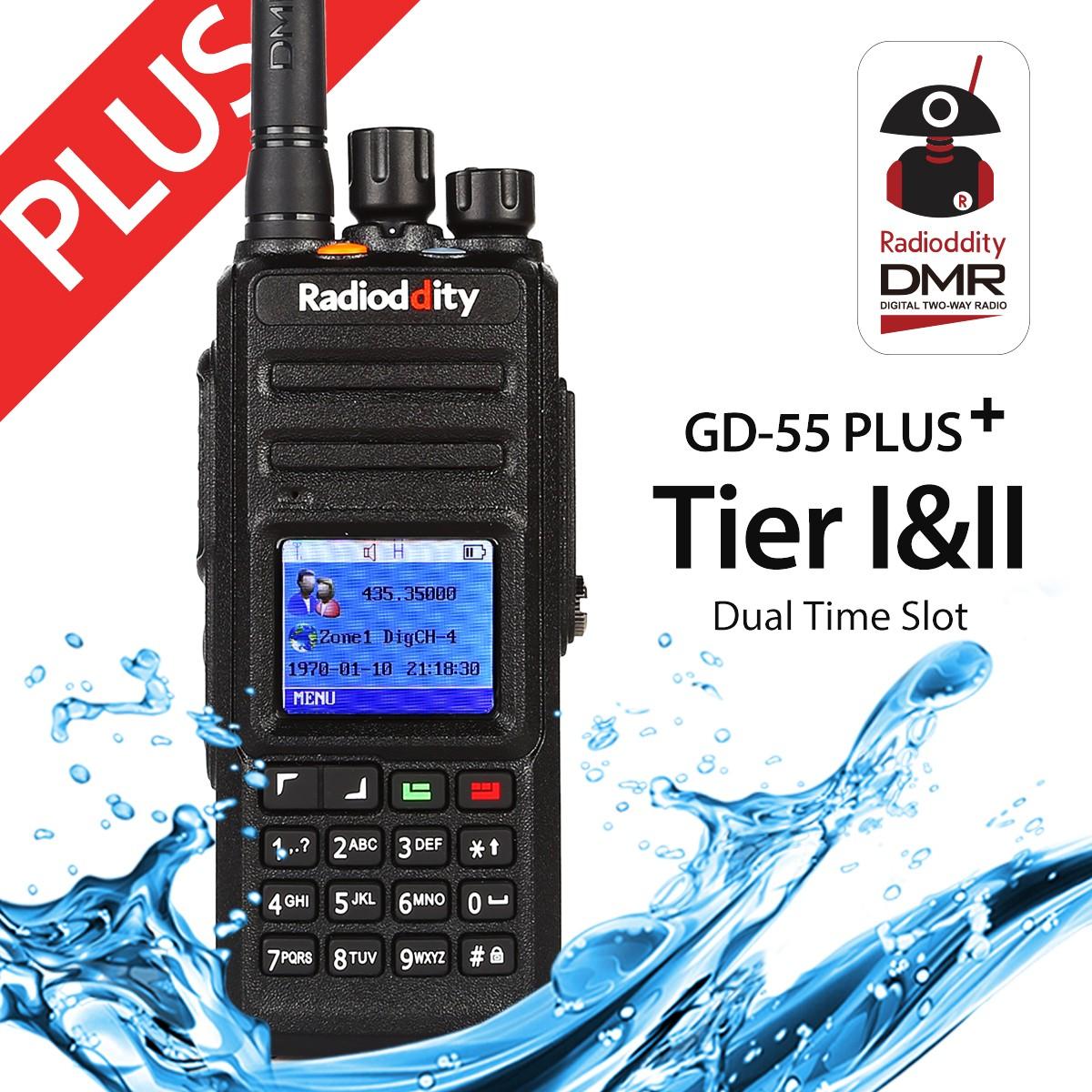 Radioddity GD-55 Plus UHF DMR Digital Radio+ 2800mAh Battery Mototrbo Tier I&II