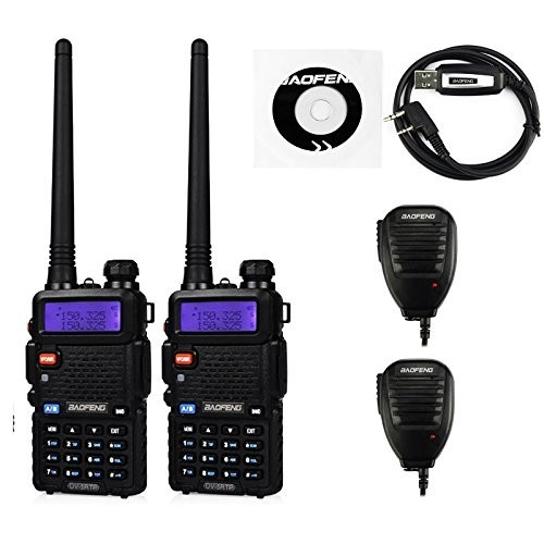 2 Pack BaoFeng UV-5RTP Transceiver + UV-5R TP 2 Remote Speaker + 1 Programming Cable