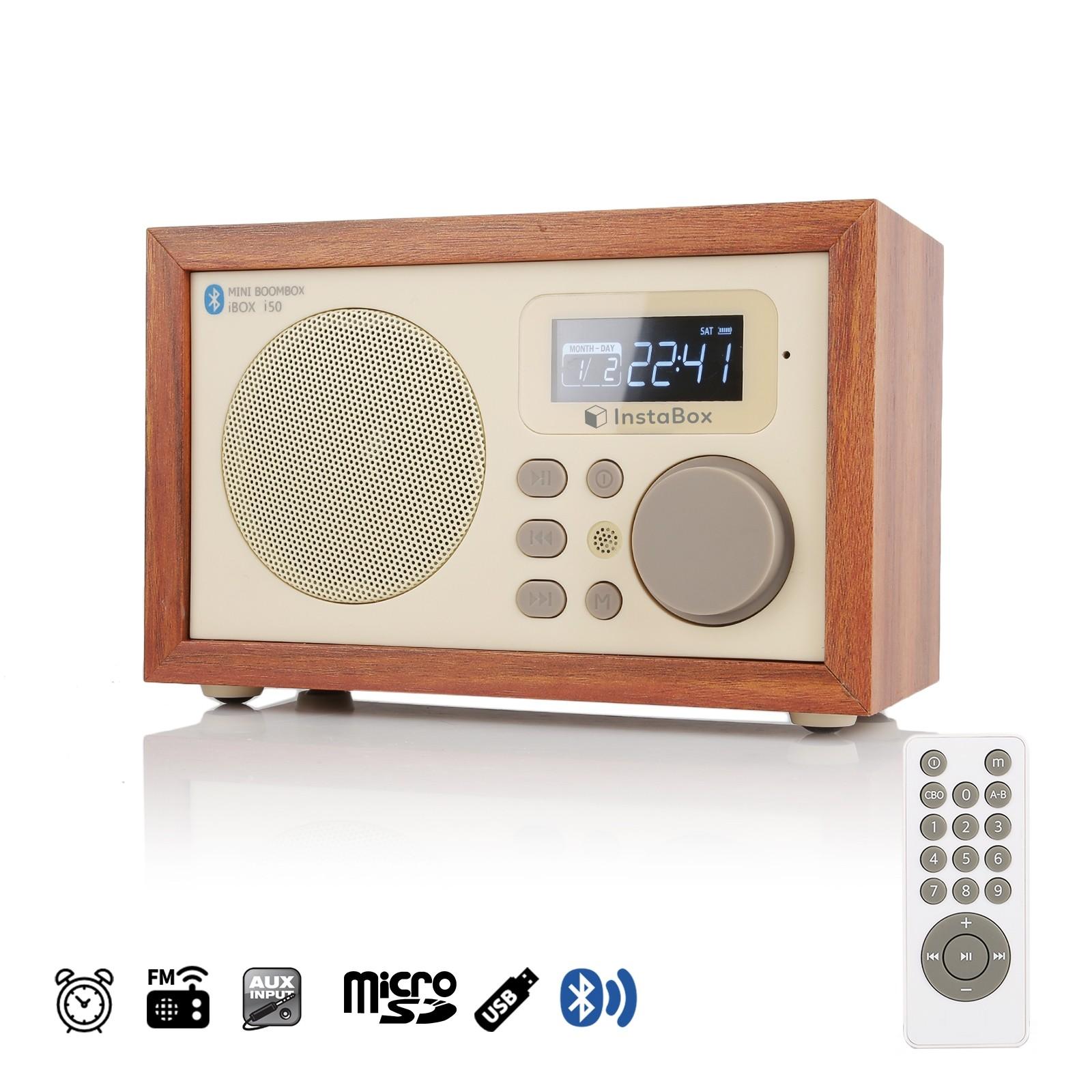 InstaBox i50 Wooden Digital Multi-Functional Speaker with Bluetooth FM Radio
