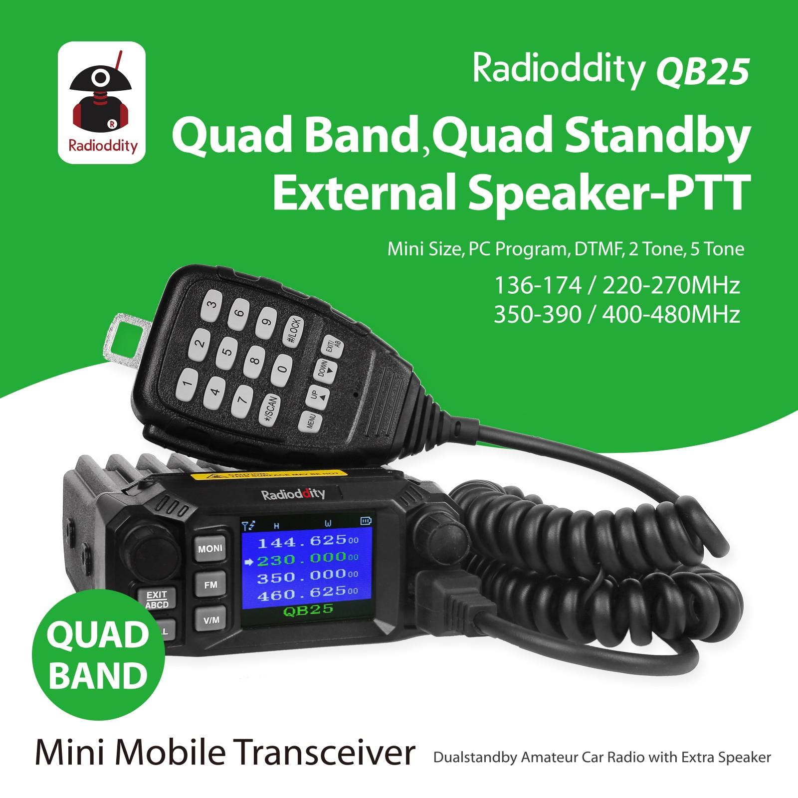Radioddity QB25 Pro Quad Band Quad-standby Mini Mobile Car Truck Radio, VHF UHF 144/220/350/440 MHz+ Cable & CD + 50W High Gain Quad Band Antenna