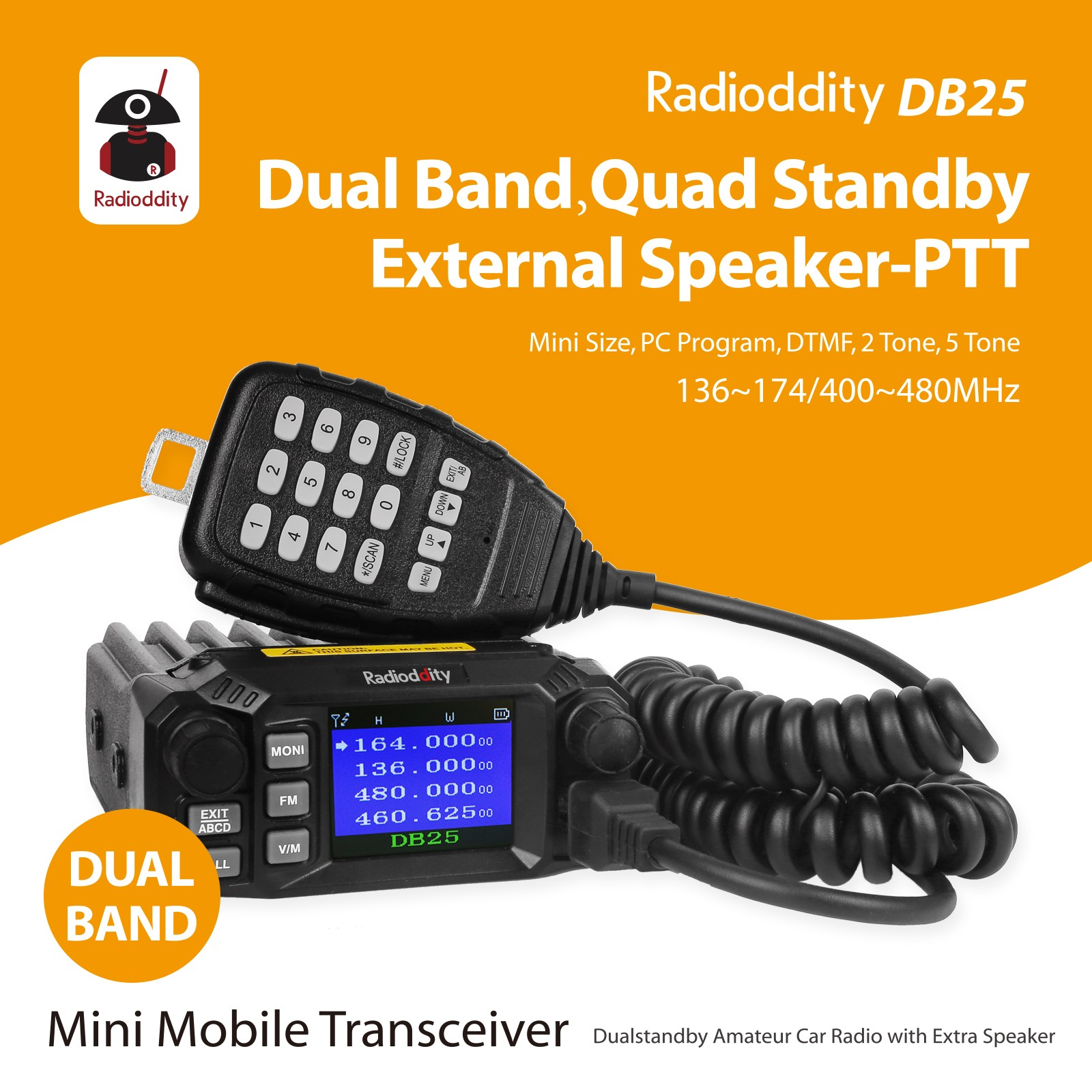 Radioddity DB25 Dual Band Quad-standby Mini Mobile Car Truck Radio, VHF UHF 144/440 MHz, 25W/10W Car Transceiver with Programming Cable & CD