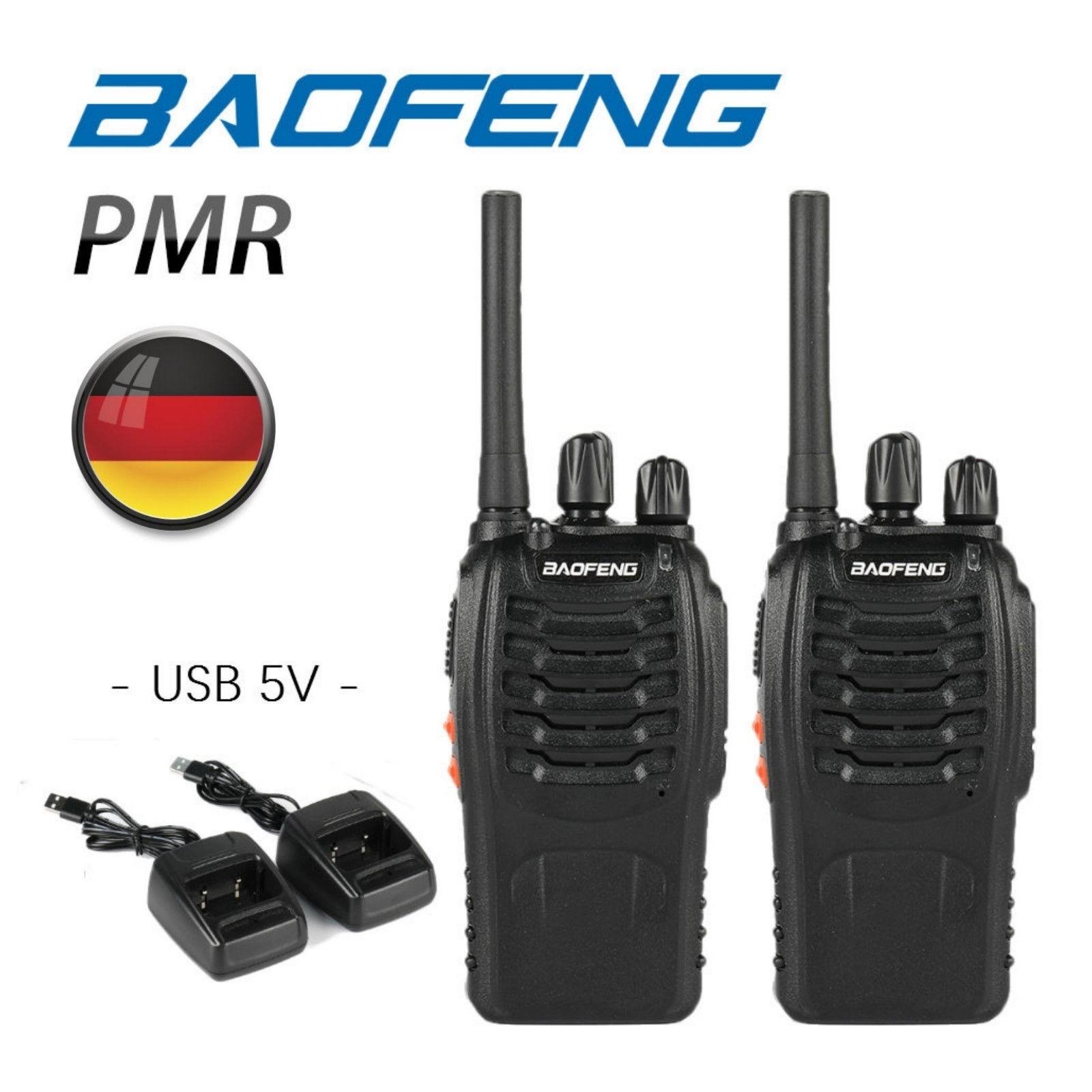 Baofeng BF-88E PMR Funkgerät, PMR 446 Walkie Talkie Wiederaufladbar USB (ein Paar, schwarz)
