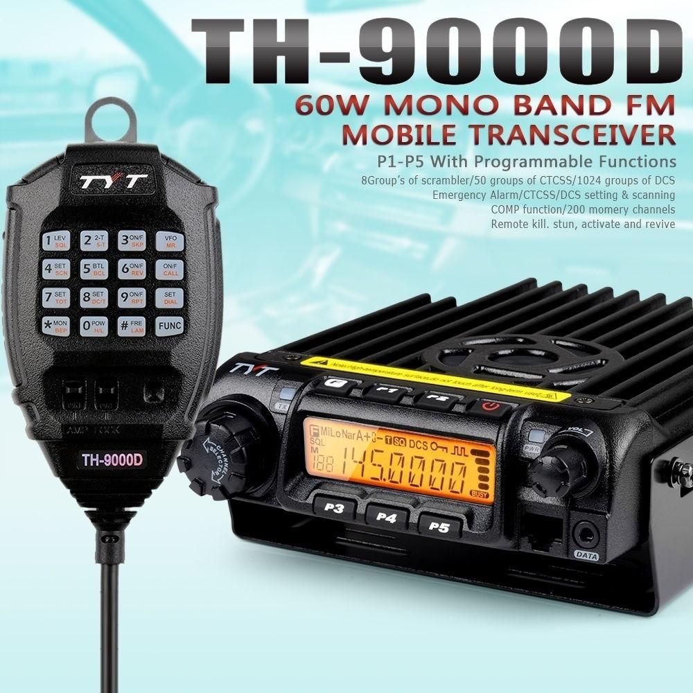 TYT TH-9000D 220-260MHz 60W 200CH Scrambler Car Truck Mobile Ham Two-way Radio