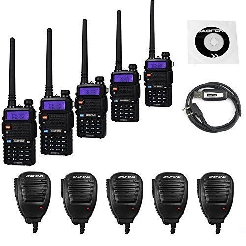 5 Pack BaoFeng UV-5RTP Transceiver + UV-5R TP 5 Remote Speaker + 1 Programming Cable