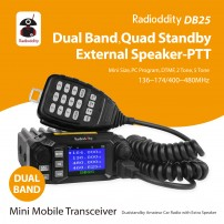 Radioddity DB25 Pro Dual Band Quad-standby Mini Mobile Car Truck Radio, VHF UHF 144/440 MHz, 25W Vehicle Transceiver + Cable & CD + 50W High Gain Quad Band Antenna