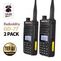 2pcs Radioddity GD-77 DMR Dual Band Digital Dual Time Slot Two Way Radio+Programming Cable&CD