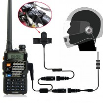 2 PIN Full Face Close Helmet Motorcycle Race Headset Earpiece for Baofeng UV-5r gt-3 gt-3tp Ham Walkie Talkie Radio