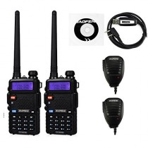2 Pack BaoFeng UV-5RTP Transceiver + UV-5R TP 2 Remote Speaker + 1 Programming Cable