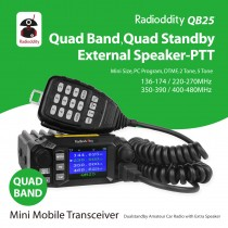 Radioddity QB25 Pro Quad Band Quad-standby Mini Mobile Car Truck Radio, VHF UHF 144/220/350/440 MHz+ Cable & CD + 50W High Gain Quad Band Antenna