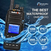 Radioddity GD-55 DMR Waterproof Digital Two-way Radio +GPS + Programming Cable