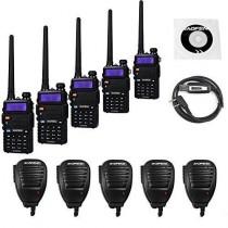 5 Pack BaoFeng UV-5RTP Transceiver + UV-5R TP 5 Remote Speaker + 1 Programming Cable