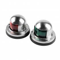 InsReve One Pair Marine Boat Yacht Light 12V Stainless Steel LED Bow Navigation Lights Pontoons Sailing Signal Lights (Red & Green)