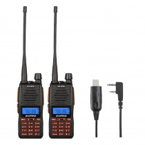 2 x BaoFeng GT-5TP Dual Band Two-Way Radio + programming Cable Win 10