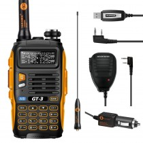 BaoFeng GT-3 Mark II  Two way RadioK it  + Orginal Remote Speaker, + Programming Cable