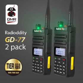 2pcs Radioddity GD-77 DMR Dual Band Digital Two Way Radio Dual Time Slot Compatible with Mototrbo Tier 1&Tier 2 with Programming Cable&CD