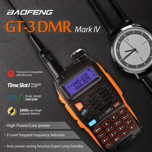 Baofeng GT-3DMR Mark IV Dual Band VHF/UHF Walkie Talkie Two Way Radio Ham Transceiver with DMR Function Time Slot 1 Repeater