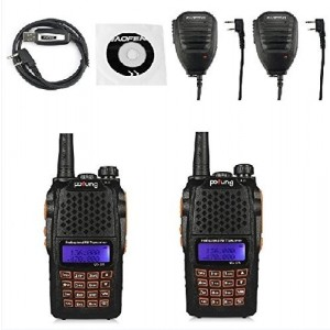 2 Pack Baofeng UV-6R Dual-Band Two-Way Radio + 2 Remote Speaker + 1 Programming Cable