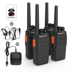 Radioddity R2 Camping Walkie Talkie UHF PMR446 USB Ladeschale Funkgerät mit Headset [4 Pack]