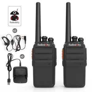 Radioddity R2 Camping Walkie Talkie UHF PMR446 USB Ladeschale Funkgerät mit Headset