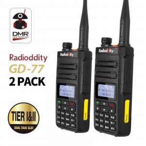 2pcs Radioddity GD-77 DMR Dual Band Digital Dual Time Slot Two Way Radio+Programming Cable&CD