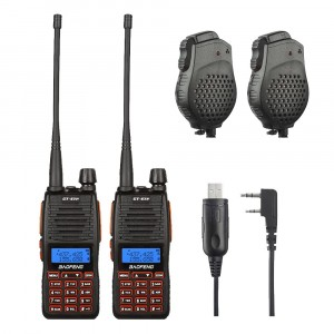 2 x  BaoFeng GT-5TP Two-Way Radio + Programming Cable Win10 + 2 x Speaker